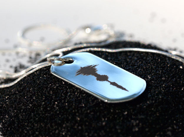 custom 925 sterling silver dog tag sound wave necklace with laser